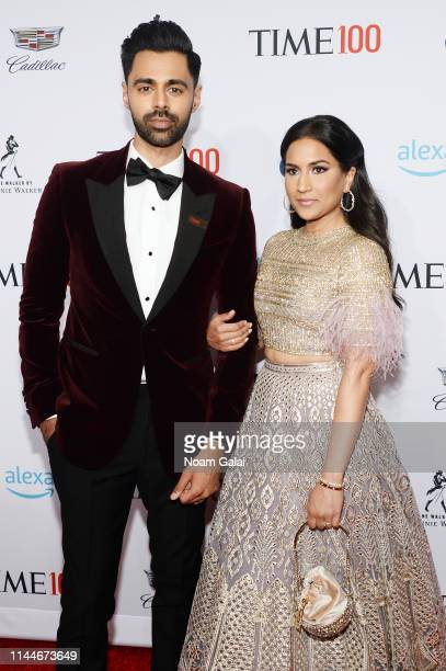 Hasan Minhaj and Beena Patel attend the TIME 100 Gala 2019 Lobby Arrivals at Jazz at Lincoln Center on April 23 2019 in New York City