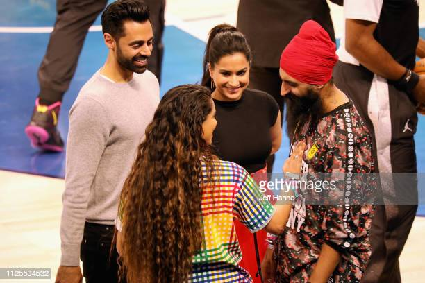 Hasan Minhaj Lilly Singh Beena Patel and Humble The Poet attend the 68th NBA AllStar Game at Spectrum Center on February 17 2019 in Charlotte North...