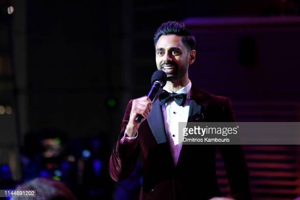 Hasan Minhaj speaks during the TIME 100 Gala 2019 Lobby Arrivals at Jazz at Lincoln Center on April 23 2019 in New York City
