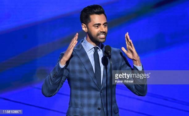 Hasan Minhaj speaks onstage during the 2019 NBA Awards presented by Kia on TNT at Barker Hangar on June 24, 2019 in Santa Monica, California.