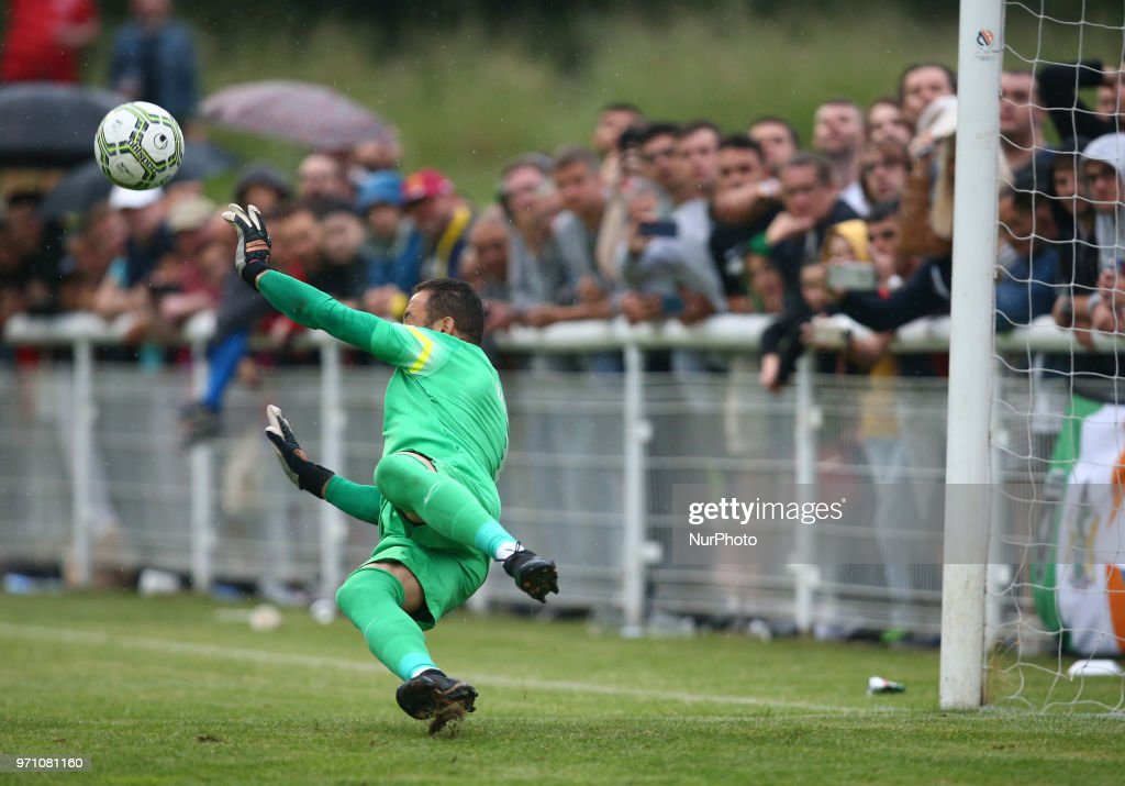 Hasan Piro of Northern Cyprus save a penalty during Conifa Paddy Power World Football Cup 2018 Grand Final between Northern Cyprus against Karpatalya at Queen Elizabeth II Stadium (Enfield Town FC), London, on 09 June 2018