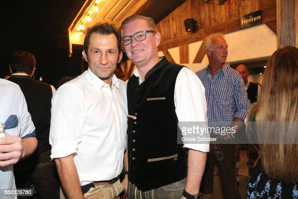 Hasan Salihamidzic and Florian Hoeness, son of Uli Hoeness during the Oktoberfest at Theresienwiese on September 20, 2017 in Munich, Germany.