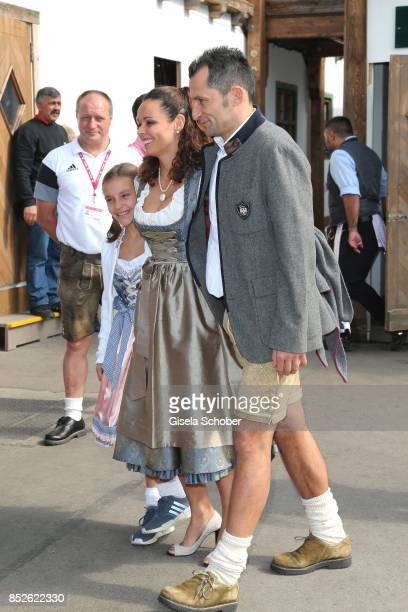 Hasan Salihamidzic and his wife Esther Copado and their daughter during the FC Bayern Wies'n as part of the Oktoberfest at Theresienwiese on...