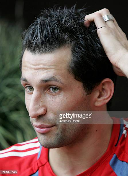 Hasan Salihamidzic attends a press conference at the Jumeirah Emirates Towers Hotel during the Bayern Munich training camp on January 8 2006 in Dubai...