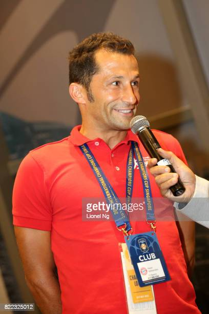 Hasan Salihamidzic Bayern Munich legend speaks at half time during the ICC Singapore match between Chelsea and FC Bayern in the Champions Lounge at...
