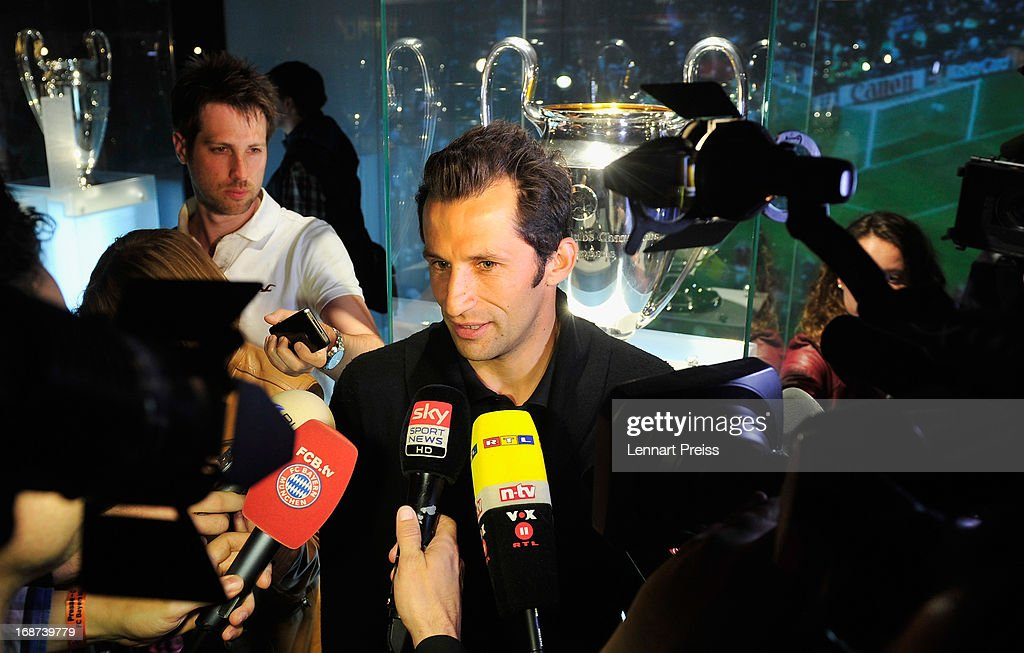 Hasan Salihamidzic, former player of Bayern Muenchen adresses the media in the FC Bayern Erlebniswelt (FC Bayern Adventure World) during the UEFA Champions League Finalist Media Day at Allianz Arena on May 14, 2013 in Munich, Germany.