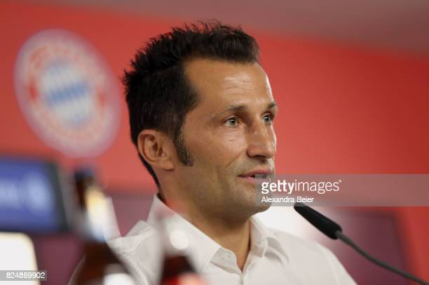 Hasan Salihamidzic new assigned sports director of FC Bayern Muenchen answers journalists' questions during a news conference at Saebener Strasse...