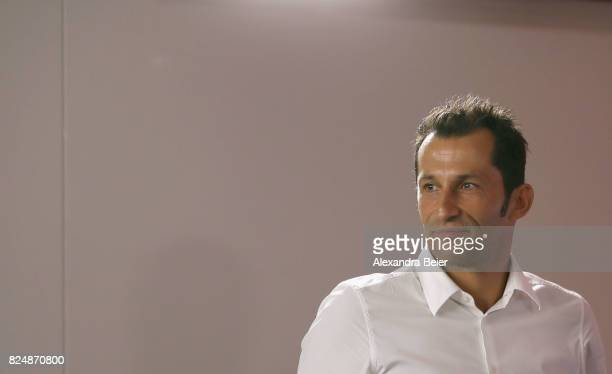 Hasan Salihamidzic new assigned sports director of FC Bayern Muenchen arrives for a news conference at Saebener Strasse training ground on July 31...