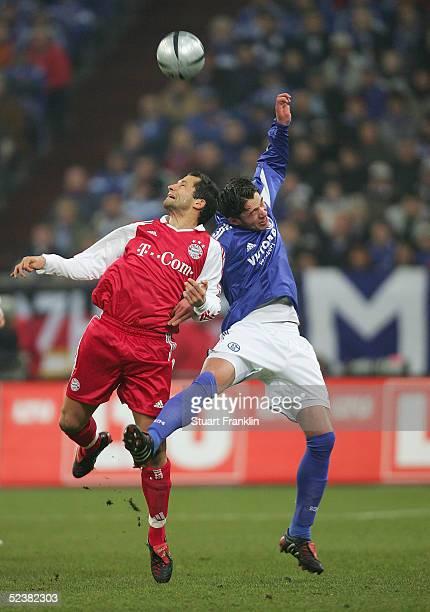 Hasan Salihamidzic of Bayern in action against Christian Pander of Schalke during The Bundesliga Match between FC Schalke 04 and FC Bayern Munich at...