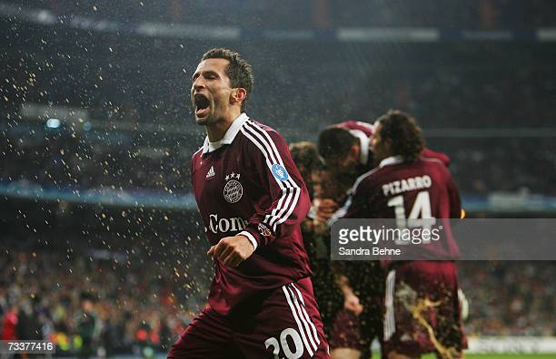 Hasan Salihamidzic of Bayern Munich celebrates his team's fifth goal during the UEFA Champions League round of sixteen first leg match against Real...