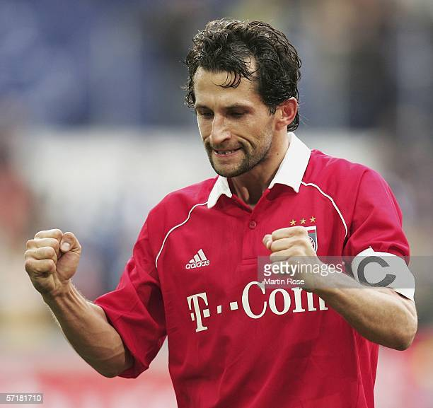 Hasan Salihamidzic of Munich gestures during the Bundesliga match between MSV Duisburg and FC Bayern Munich at the MSV Arena on March 25 2006 in...