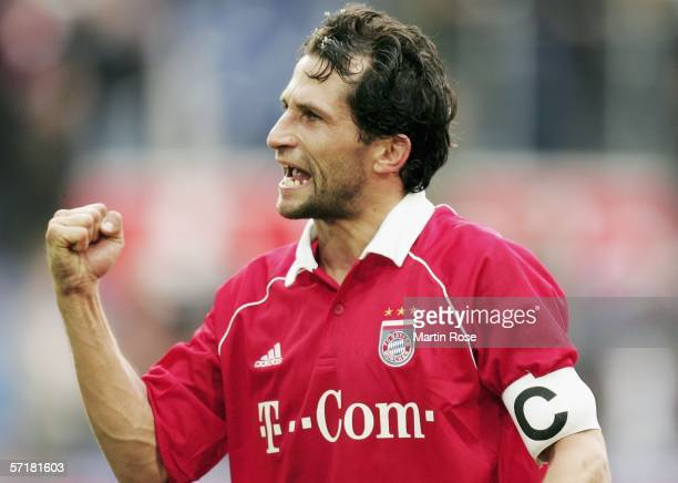 Hasan Salihamidzic of Munich raises his fist during the Bundesliga match between MSV Duisburg and FC Bayern Munich at the MSV Arena on March 25 2006...