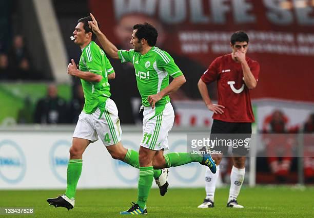 Hasan Salihamidzic of Wolfsburg celebrates after scoring his team's first goal during the Bundesliga match between VfL Wolfsburg and Hannover 96 at...