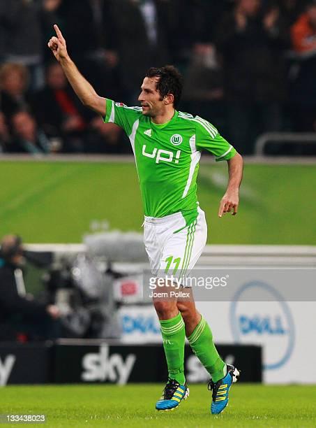 Hasan Salihamidzic of Wolfsburg celebrates after scoring his team's second goal during the Bundesliga match between VfL Wolfsburg and Hannover 96 at...