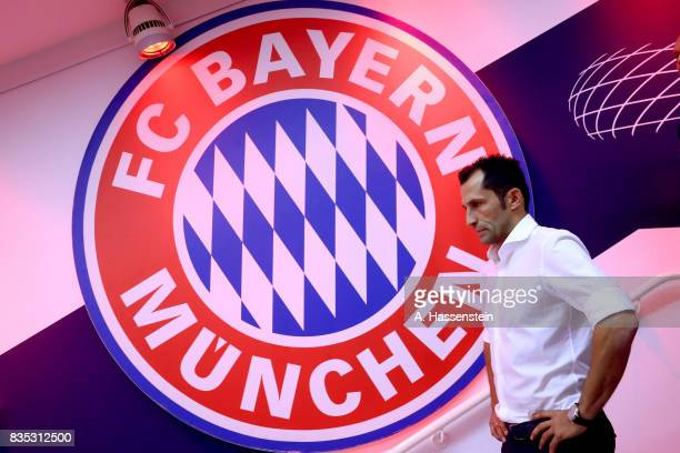 Hasan Salihamidzic Sporting director of Bayern Muenchen looks on prior to the Bundesliga match between FC Bayern Muenchen and Bayer 04 Leverkusen at...