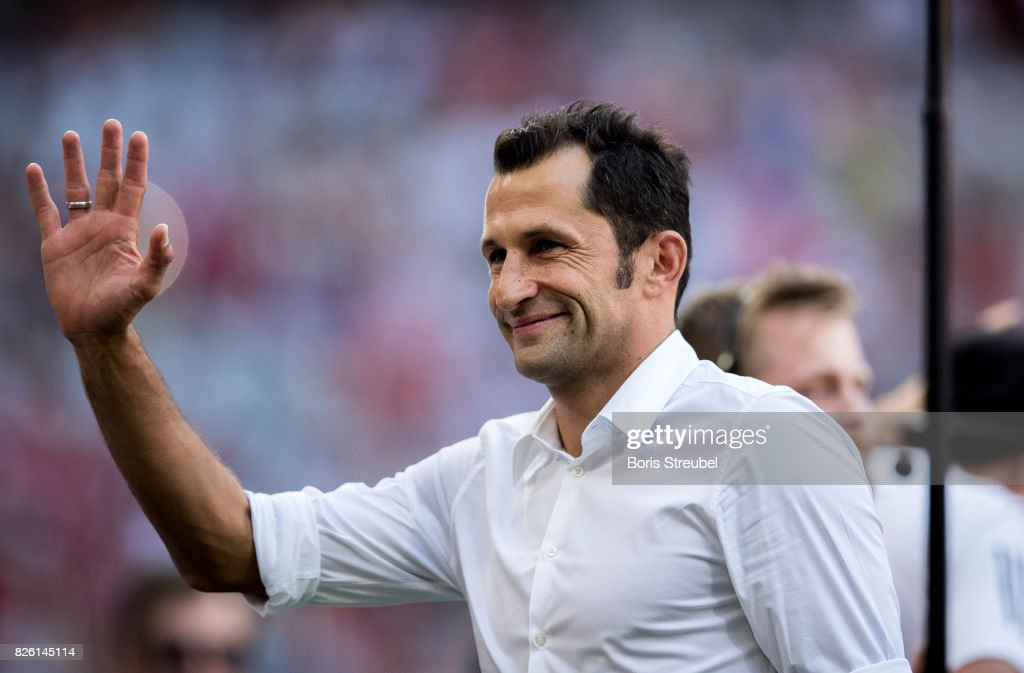 Hasan Salihamidzic, Sporting Director of FC Bayern Muenchen gestures prior to the Audi Cup 2017 match between SSC Napoli and FC Bayern Muenchen at Allianz Arena on August 2, 2017 in Munich, Germany.