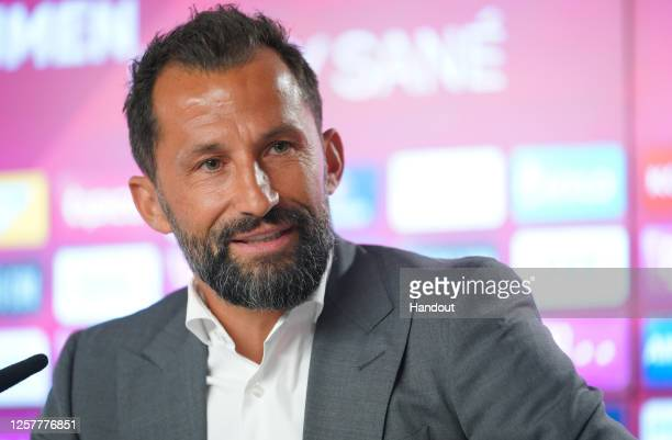 Hasan Salihamidzic, sporting director of FC Bayern Muenchen, speaks during a press conference announcing the signing of Leroy Sane at FC Bayern...