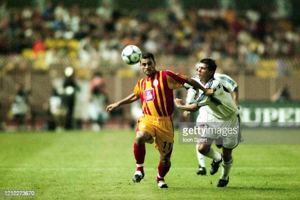 Hasan SAS of Galatasaray and Ivan HELGUERA of Real Madrid during the Super Cup match between Real Madrid and Galatasaray at Stadium Louis II Monaco...