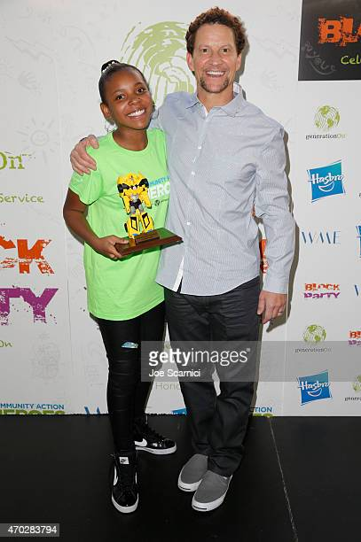 Hasbro Community Action Hero Brooklyn Wright and CEO of Hasbro Inc Brian Goldner attend the Points of Light generationOn Block Party on April 18 2015...