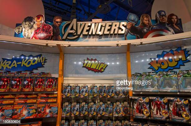 """Hasbro Inc. Based on """"Marvel's The Avengers"""" movie sit on the shelf at a Toys """"R"""" Us Inc. Store in New York, U.S., on Wednesday, Aug. 22, 2012...."""