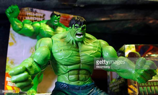 Hasbro Inc 'Incredible Hulk' toy action figure is displayed at the Hasbro New York Toy Fair 2008 in New York US on Friday Feb 15 2008 The US Toy...