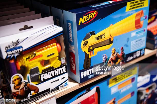 Hasbro Inc Nerf brand Fortnite blasters are displayed at a Toys R Us Inc store in Paramus New Jersey US on Tuesday Nov 26 2019 The new store in the...