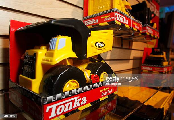 Hasbro Inc Tonka toy trucks are displayed at the Hasbro New York Toy Fair 2008 in New York US on Friday Feb 15 2008 The US Toy Industry Association...