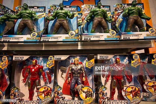 """Hasbro Inc. Toys from based on """"Marvel's The Avengers"""" movie sit on the shelf at a Toys """"R"""" Us Inc. Store in New York, U.S., on Wednesday, Aug. 22,..."""