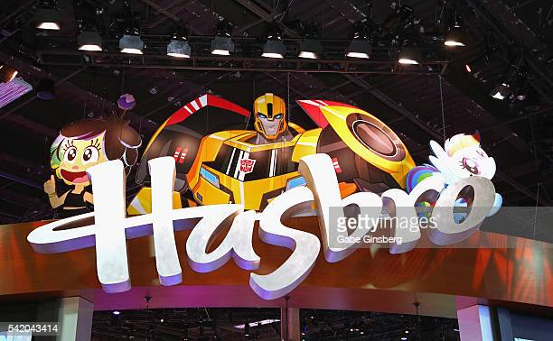 Hasbro sign hangs above the Hasbro booth at the Licensing Expo 2016 at the Mandalay Bay Convention Center on June 21 2016 in Las Vegas Nevada