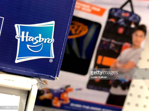 Hasbro toys are displayed at a Target store on February 08 2019 in San Rafael California Hasbro reported fourth quarter earnings that fell short of...
