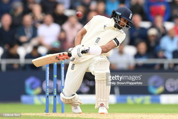 Haseeb Hameed of England avoids a Jasprit Bumrah delivery during day two of the 3rd LV= Test Match between England and India at Emerald Headingley...