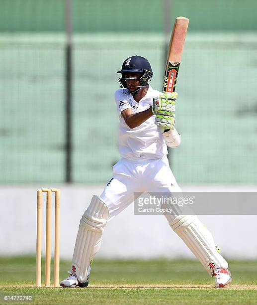 Haseeb Hameed of England bats during a tour match between a Bangladesh Cricket Board XI and England at MA Aziz stadium on October 15 2016 in...