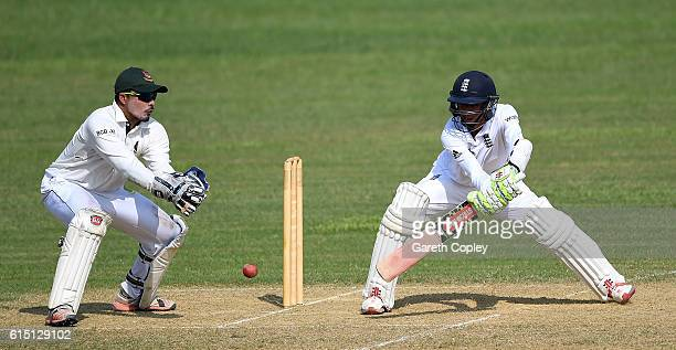 Haseeb Hameed of England bats during day two of the tour match between a Bangladesh Cricket Board XI and England at MA Aziz stadium on October 17...