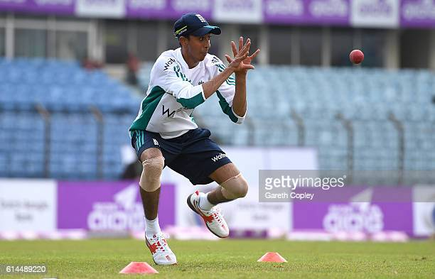 Haseeb Hameed of England catches during a nets session at Zohur Ahmed Chowdhury Stadium on October 14 2016 in Chittagong Bangladesh