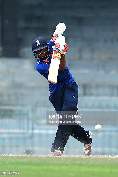 Haseeb Hameed of England hits the ball during the Under 19 International Triseries match between England U19 and Sri Lankas U19 at the R Premadasa...