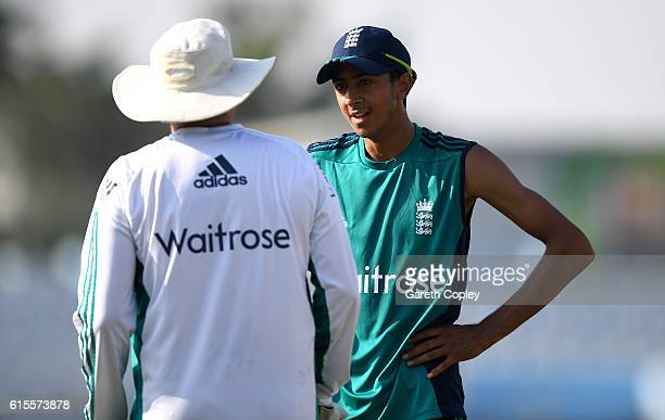 Haseeb Hameed of England speaks with coach Trevor Bayliss during a nets session at Zohur Ahmed Chowdhury Stadium on October 19 2016 in Chittagong...
