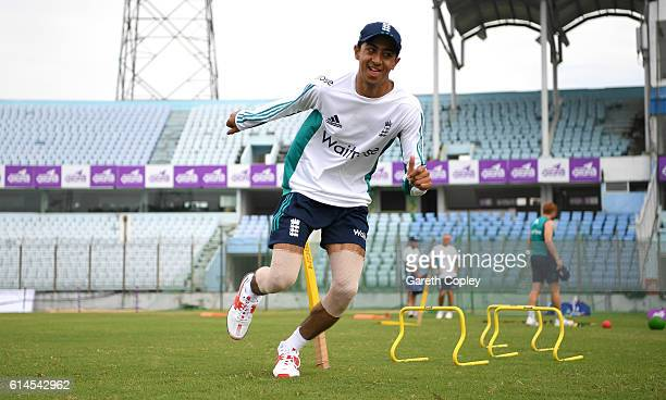 Haseeb Hameed of England warms up during a nets session at Zohur Ahmed Chowdhury Stadium on October 14 2016 in Chittagong Bangladesh