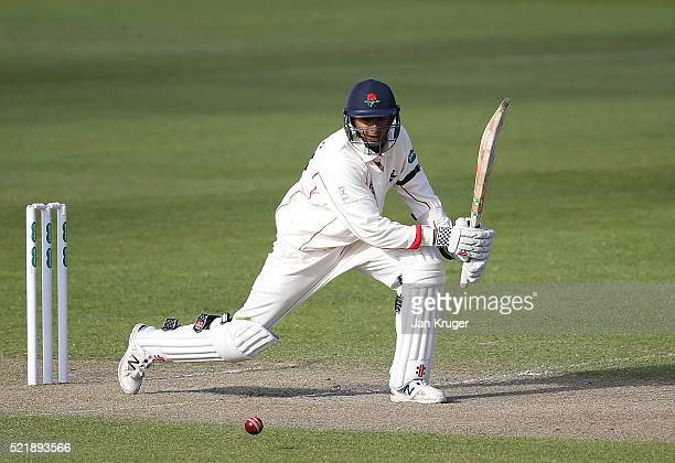 Haseeb Hameed of Lancashire bats during day one of the Specsavers County Championship Division One match between Lancashire and Nottinghamshire at...
