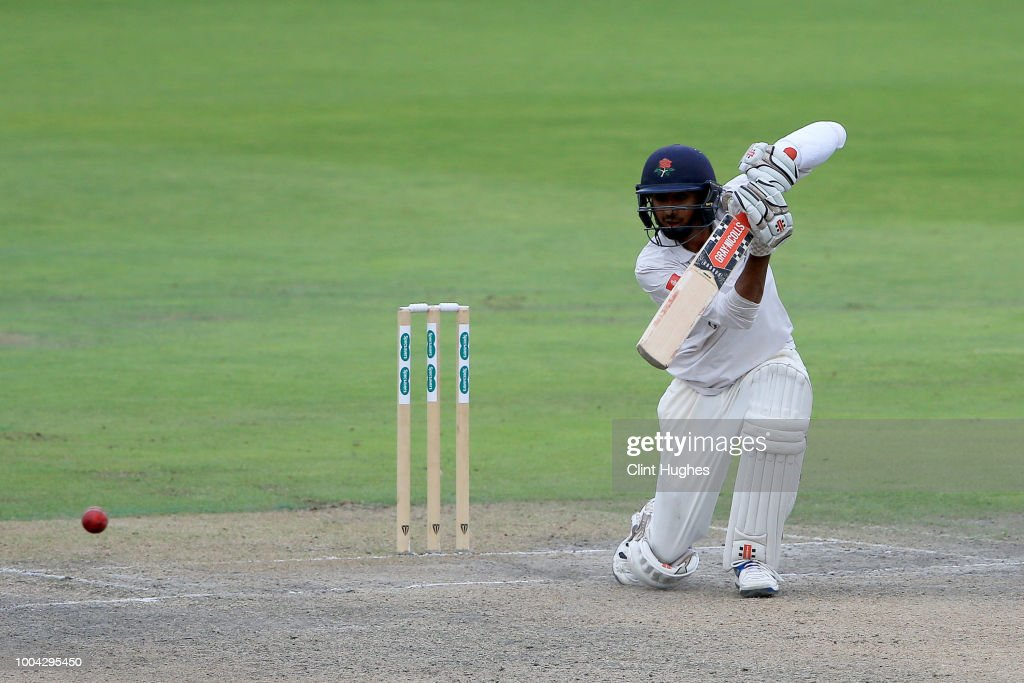 Haseeb Hameed of Lancashire bats during day two of the Specsavers County Championship division one match between Lancashire and Yorkshire at Emirates Old Trafford on July 23, 2018 in Manchester, England.