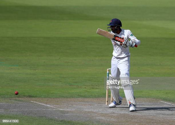 Haseeb Hameed of Lancashire bats during the Lancashire Second XI v Nottinghamshire Second XI match at Emirates Old Trafford on July 15 2018 in...