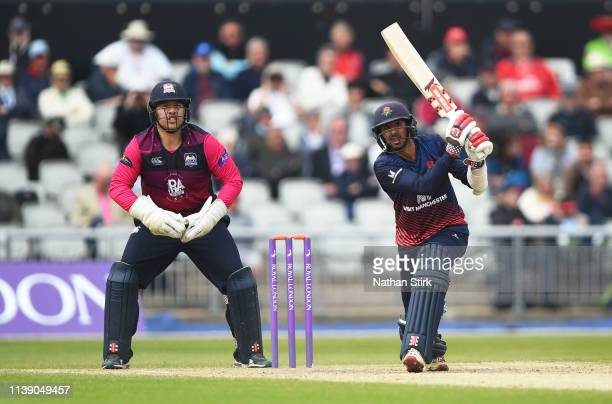 Haseeb Hameed of Lancashire bats during the Royal London One Day Cup match between Lancashire and Northamptonshire at Emirates Old Trafford on April...