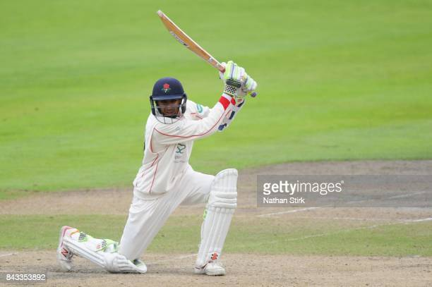 Haseeb Hameed of Lancashire batting during the County Championship Division One match between Lancashire and Essex at Old Trafford on September 6...