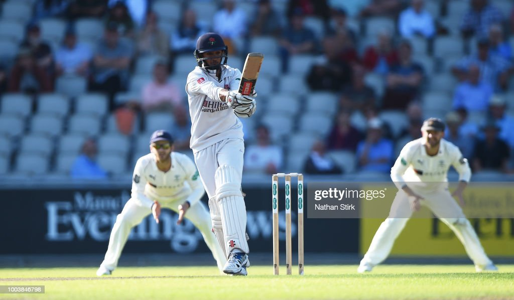 Haseeb Hameed of Lancashire batting during the Specsavers Championship Division One match between Lancashire and Yorkshire at Old Trafford on July 22, 2018 in Manchester, England.
