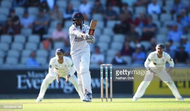 Haseeb Hameed of Lancashire batting during the Specsavers Championship Division One match between Lancashire and Yorkshire at Old Trafford on July 22...