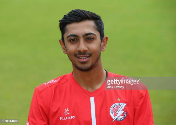 Haseeb Hameed of Lancashire CCC poses for a portrait during their T20 kit photocall at Old Trafford on June 8 2018 in Manchester England