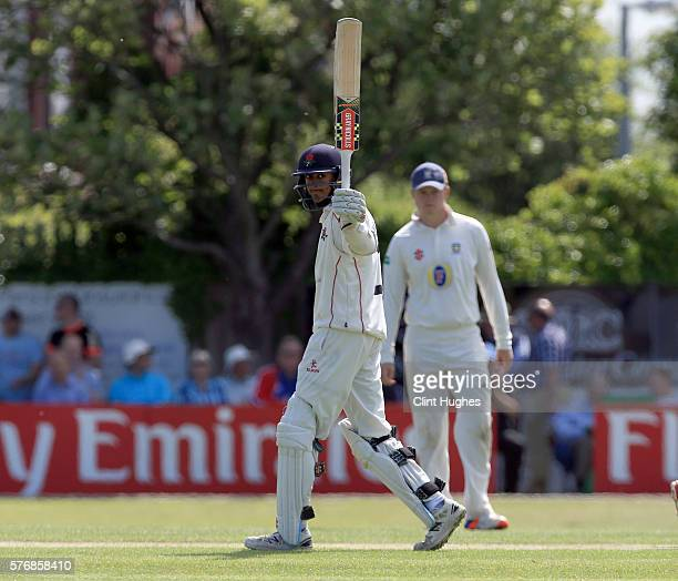 Haseeb Hameed of Lancashire celebrates after he reaches his half century during day three of the Specsavers County Championship Division One match...