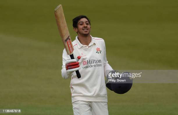 Haseeb Hameed of Lancashire celebrates reaching his century during the second day of the County Championship Division Two match between Middlesex and...