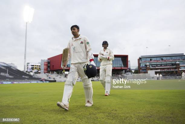 Haseeb Hameed of Lancashire finishes day two on 85 not out during the County Championship Division One match between Lancashire and Essex at Old...