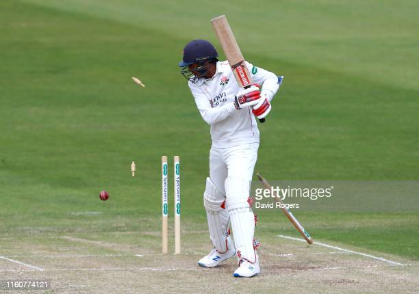 Haseeb Hameed of Lancashire is bowled by Ben Sanderson during the Specsavers County Championship division two match between Northamptonshire and...