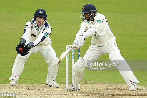 Haseeb Hameed of Lancashire is caught by Yorkshire wicket keeper Andy Hodd during day four of the Specsavers County Championship Division One match...